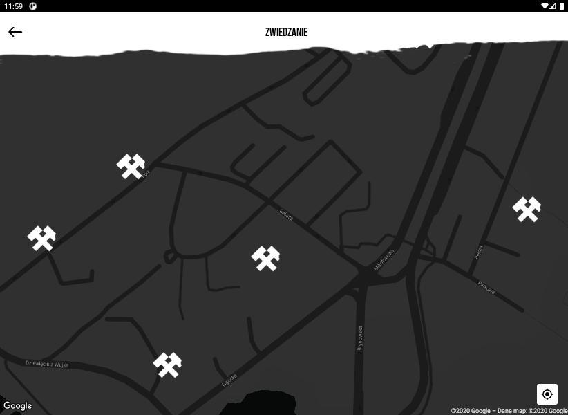 Zrzut ekranu aplikacji - mapa dzielnicy